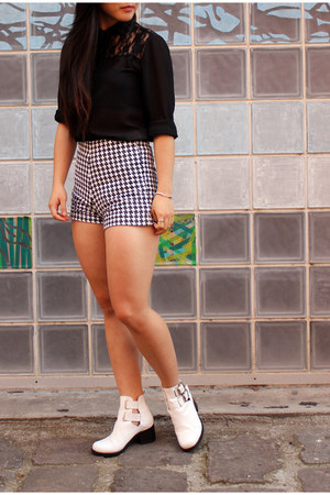 black asos shirt - white cut out boots tony bianco boots - shorts