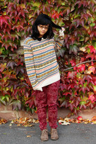 light orange tribal brave soul sweater - tan boots - crimson paisley c&a pants