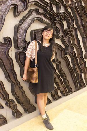 heather gray lace up MKS shoes - black slip dress