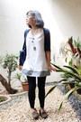 White-mini-connexxion-dress-black-siss-leggings-navy-shoulder-kipling-bag