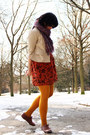 Brown-brogues-primark-shoes-burnt-orange-batik-unbranded-dress