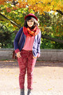 Dark-brown-chelsea-deichmann-boots-ruby-red-vintage-hat-navy-1982-blazer