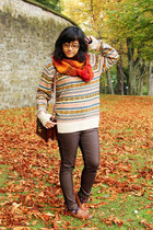 light orange brave soul sweater - carrot orange DIY scarf