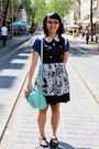 Navy-batik-tailor-made-dress-aquamarine-satchel-typo-bag