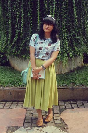 lime green pleated midi thrifted skirt - aquamarine satchel old bag
