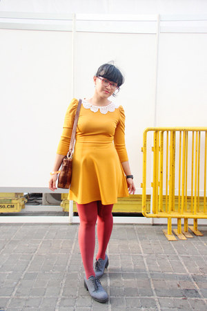 heather gray ankle MKS boots - mustard thrifted modcloth dress