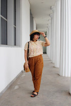 beige subtle floral thrifted blouse - nude boater Urban Outfitters hat