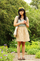 lime green shirt Motel dress - ivory weaved gifted bag - tan Only skirt