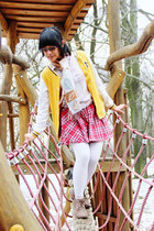 yellow varsity 1982 jacket - camel vintage boots - white knitted H&M tights