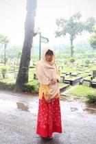 light orange muslim shirt - neutral pashmina scarf - red wrap batik keris skirt