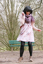 deep purple knitted pieces scarf - light pink Minimal dress - mustard H&M jacket