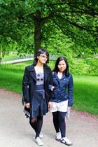 ivory tote Shakespeare&co bag - houndstooth dress - black Marks & Spencer coat