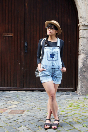 sky blue dungaree Pimkie bodysuit - beige boater Urban Outfitters hat