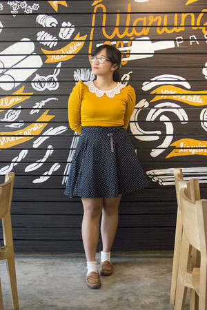mustard crochet collar thrifted dress - mustard faux satchel purse