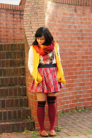 magenta thigh high h&m divided socks - yellow varsity 1982 jacket