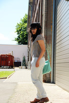 brown brogues vintage shoes - black kitty c&a hat - aquamarine satchel Typo bag
