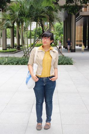 mustard chiffon vintage shirt - navy Secondhand jeans