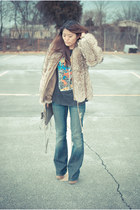 lita Jeffrey Campbell boots - fur vintage coat - William Rast jeans - Rebecca Mi