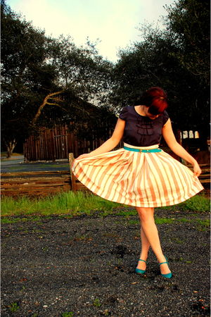 blue Old Navy dress - beige Penguin Classics skirt - blue thrifted shoes - blue