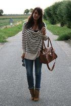 beige H&M sweater - brown Zara shoes - blue Zara jeans - brown Primark bag - pin