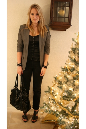 gray Primark blazer - black H&amp;M top - black hm pants - black van haren shoes - b