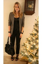 gray Primark blazer - black H&M top - black hm pants - black van haren shoes - b