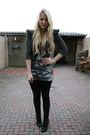 Green-zara-jacket-gray-primark-dress-black-primark-shoes