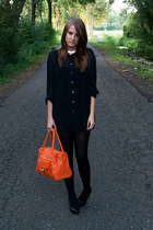 black vanharen shoes - black H&M tights - carrot orange Primark bag