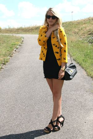 gold H&M jacket - black H&M dress - black Zara shoes
