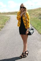 gold H&M jacket - black H&M dress - black Zara shoes