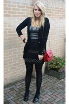 red Primark purse - black H&M boots - gray snake Vero Moda dress