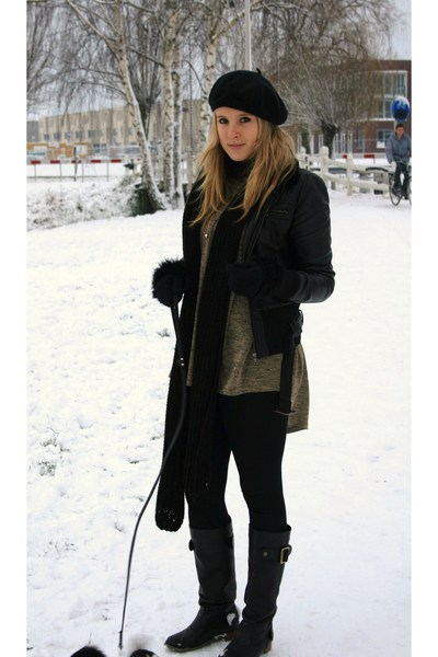 black jacket - green H&M shirt - black pieces boots - black H&M hat