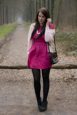 hot pink sessun dress - black Moschino bag - light pink sessun cardigan - black