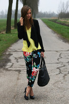 floral print H&M pants - H&M jacket - pieces bag - H&M top - van haren heels
