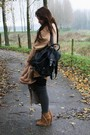 Black-vintage-bag-bronze-zara-shoes-camel-monki-dress