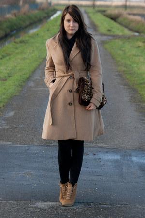 camel Zara shoes - camel hm coat - brown DIY bag