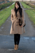 camel Zara shoes - camel hm coat - brown DIY bag