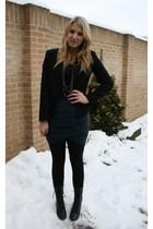 black vintage boots - black H&M blazer - black H&M top - blue Vero Moda skirt