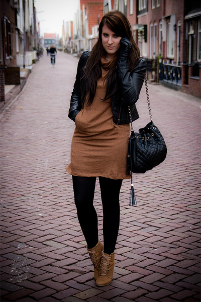 Black Leather Hm Jackets, Camel Zara Shoes, Brown Zara Dresses ...