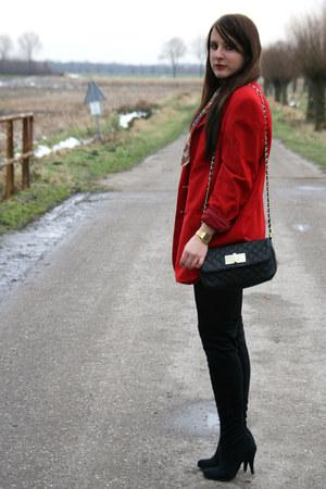 black Primark boots - red vintage blazer - red vintage scarf