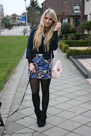 blue H&M skirt - blue H&M jacket - black New Yorker shoes - pink Primark purse