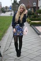 blue H&M skirt - blue H&M jacket - black New Yorker shoes - pink Primark purse
