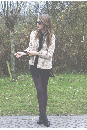 pink vintage jacket - crimson Primark leggings