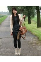 beige H&M blazer - black h&m l dress - beige Zara shoes - brown Primark bag