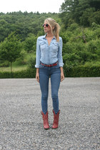 blue H&M jeans - ruby red western Forever 21 boots