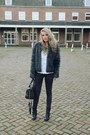 Black-biker-boots-axi-schoen-boots-black-fake-fur-new-yorker-coat