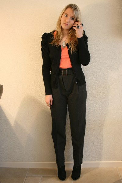 gray Zara pants - black H&M cardigan - orange H&M top - black New Yorker boots