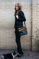 DIY Leopard detail bag bag - H&M sweater - Zara pants