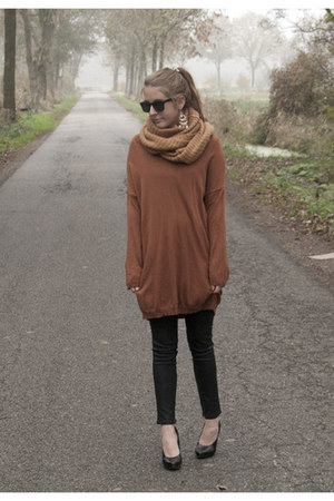 tawny Monki sweater - burnt orange pieces scarf - black Zara pants