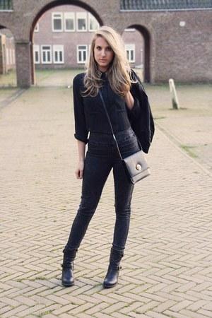 black biker boots Axi Schoen boots - dark gray skinny pieces jeans
